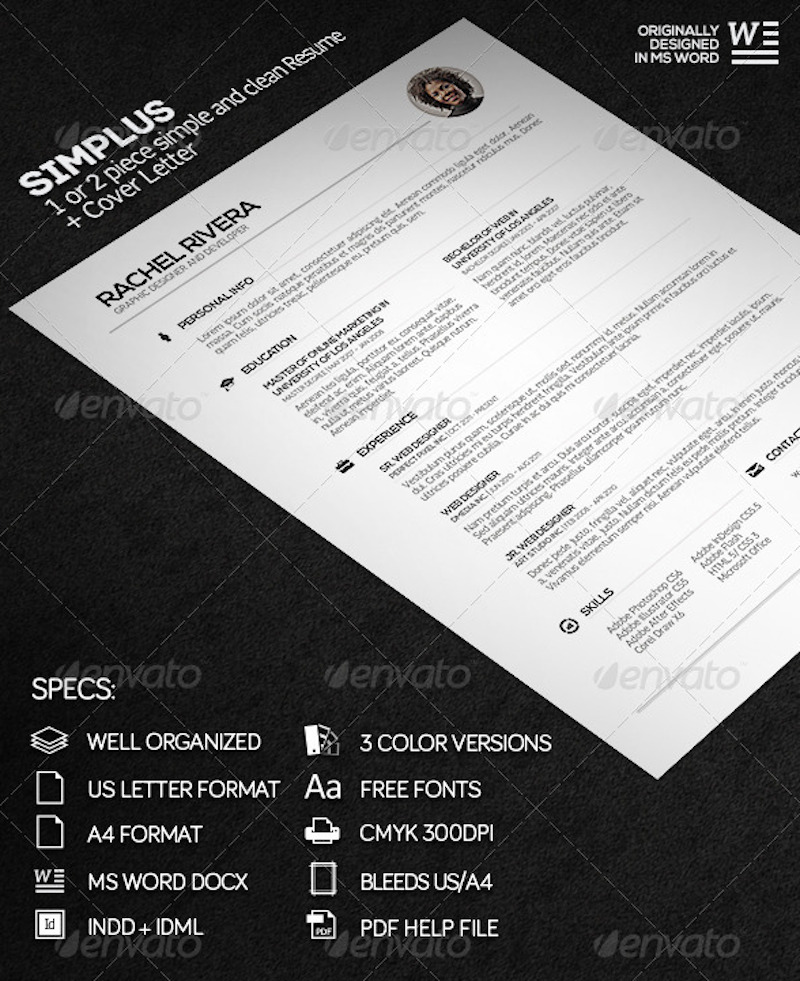 Simplus – 1 or 2 Piece Simple and Clean Resume