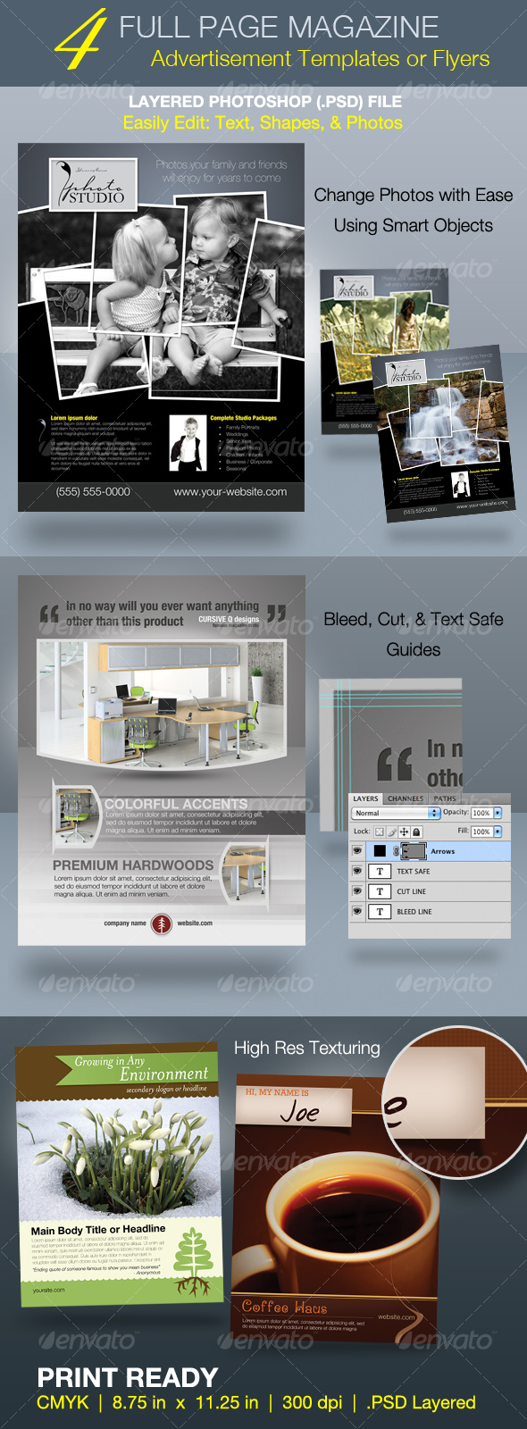Full Page Magazine Ad or Flyer Templates