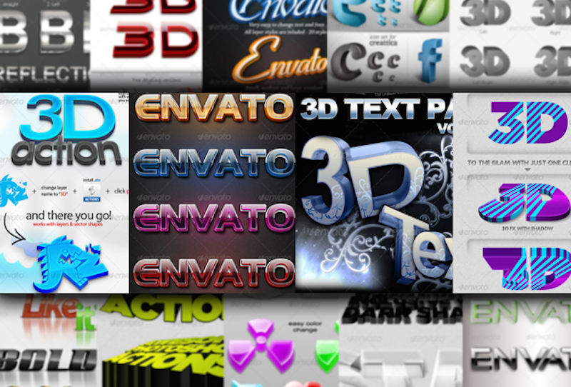 18 3D Text Styles and Actions for Photoshop