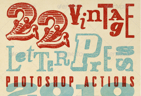 22 Vintage Letterpress Photoshop Actions – by DigitalYardSale