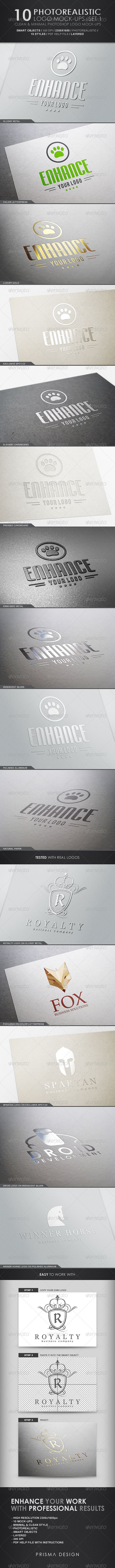 10 Photorealistic Logo Mock-Ups : Set 1