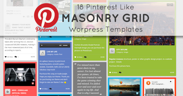 18 Pinterest Like Masonry Grid WordPress Templates