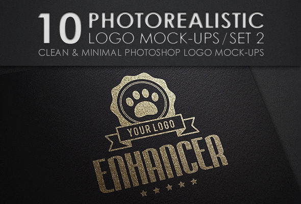 10 Photorealistic Logo Mock-Ups / Set 2