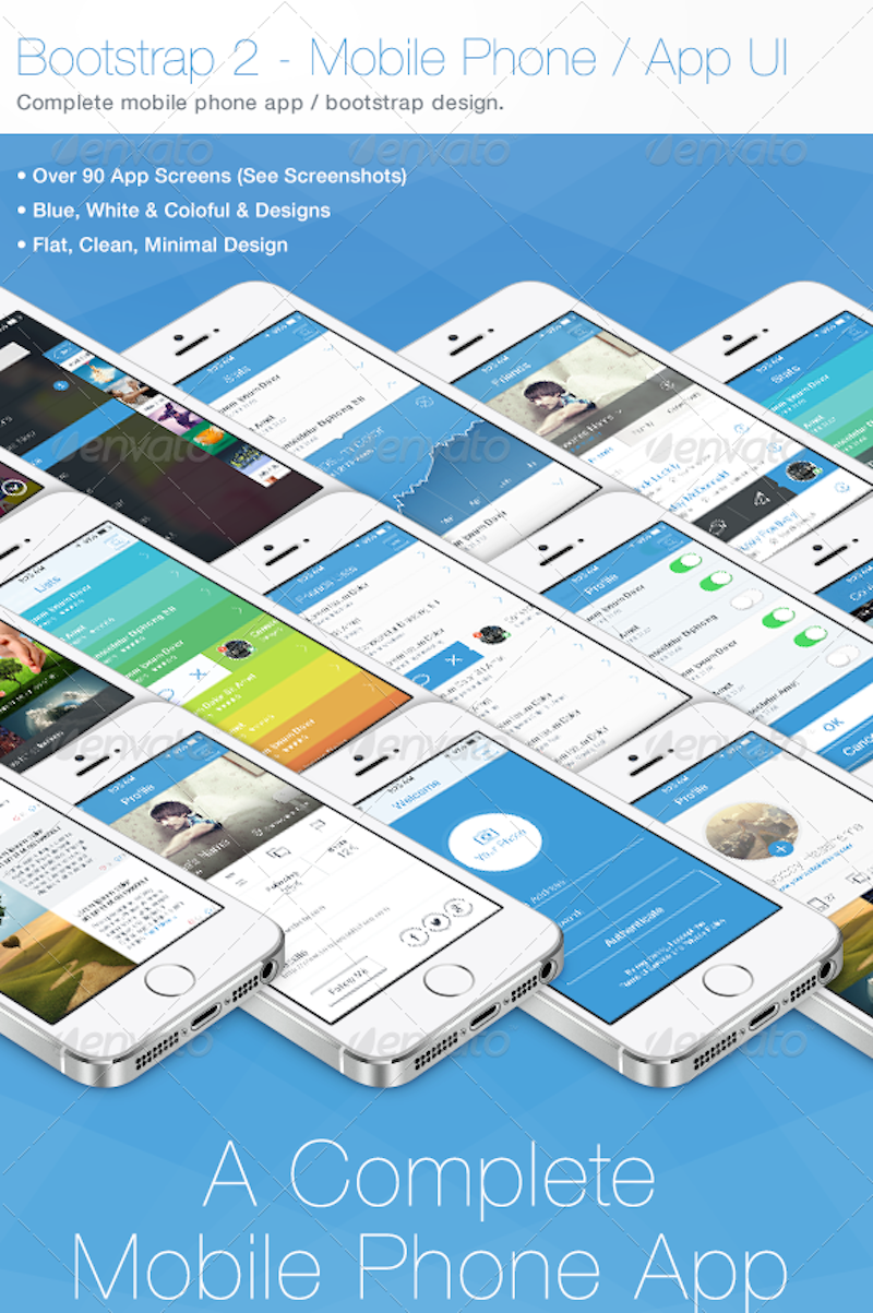 Bootstrap 2 – Flat Mobile Phone – App UI