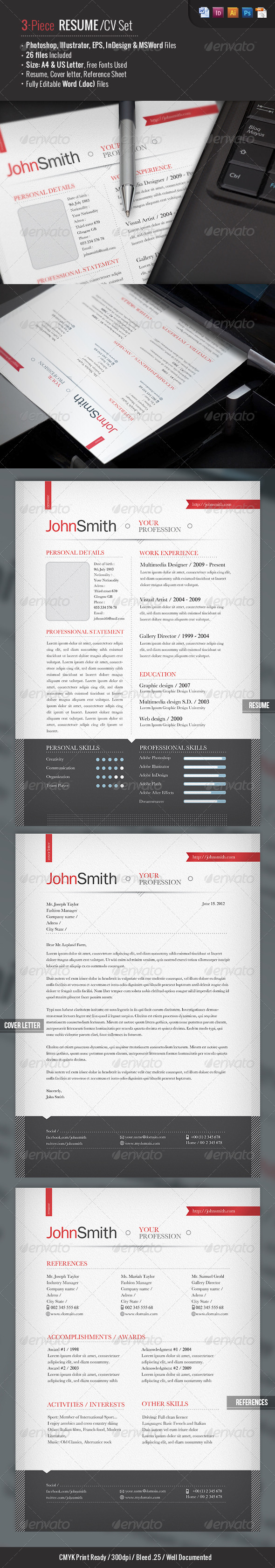 Ready 3-Piece Resume:CV Set