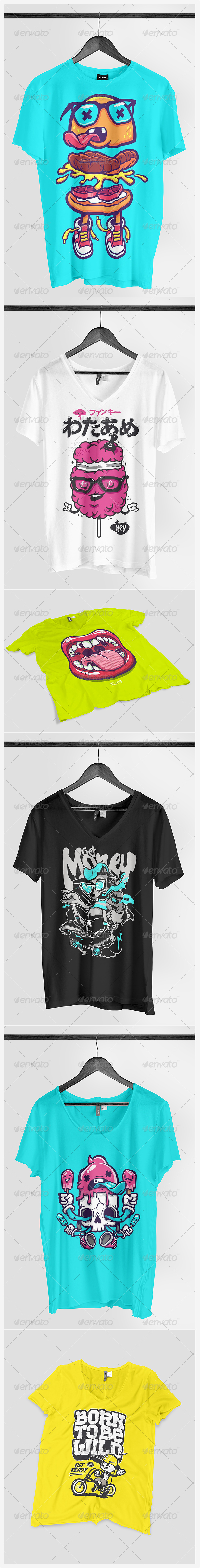 Realistic T-shirt Mock-up Pack2