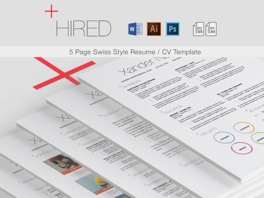 Hired – Swiss Style 5-Page Resume / CV Template
