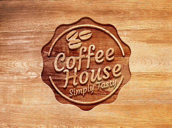 Carved Wood Logo Mockup PSD – Free