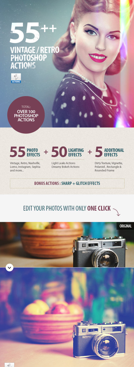 55+ Vintage / Retro Effects – Photoshop Actions