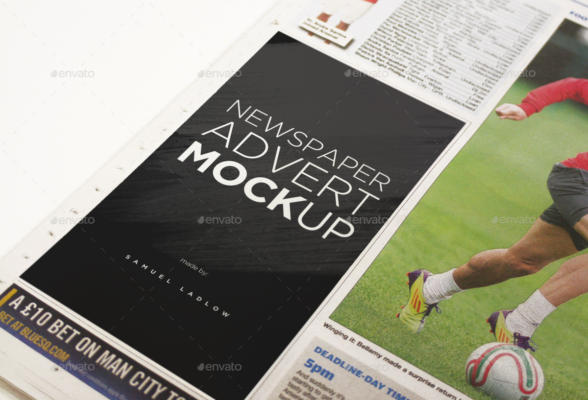 6 Newspaper Advert Mockups