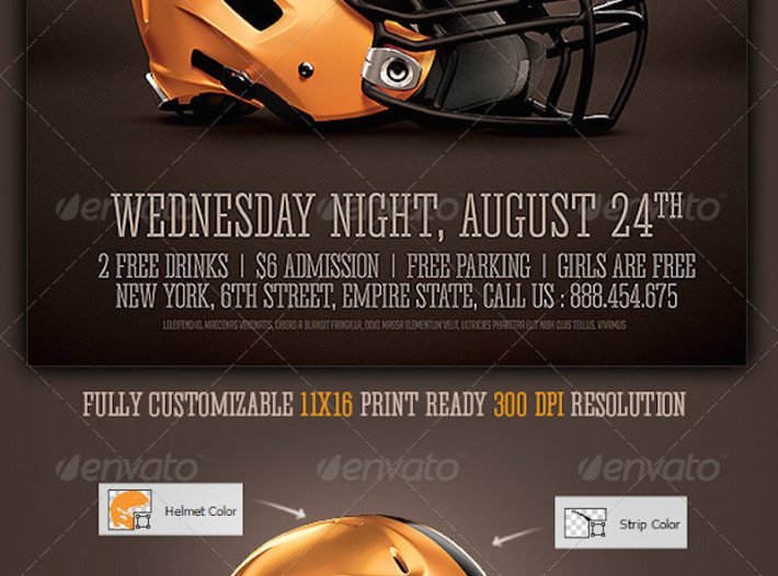 Realistic Football Helmet Mockup / Flyer